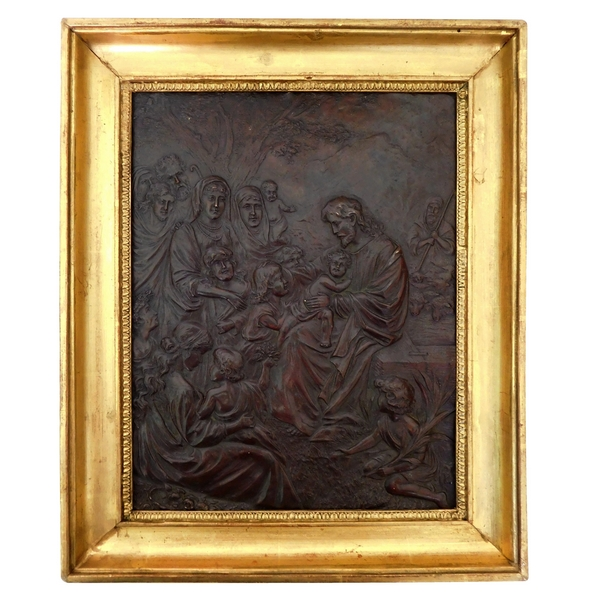 Christ & children, repoussé copper artwork : ''Let the children come to me''
