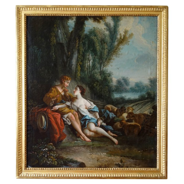18th century French school after Francois Boucher : Daphnis and Chloe, oil on canvas - 73cm x 84cm