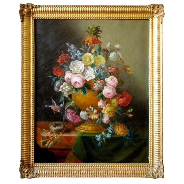 19th century French school, large oil on canvas : bouquet of flowers circa 1840 - 92cm x 73cm