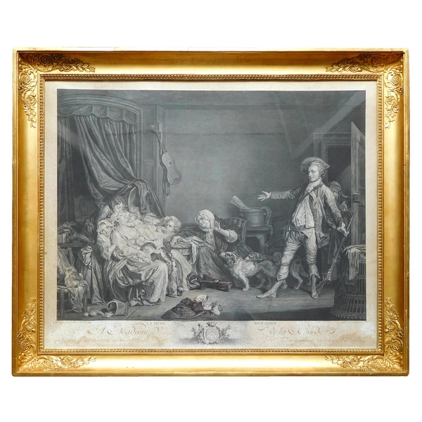 Early 19th century engraving, after Greuze, gilt Empire wooden frame