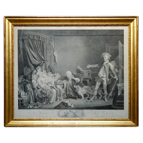 Early 19th century engraving, after Greuze, gilt wooden frame