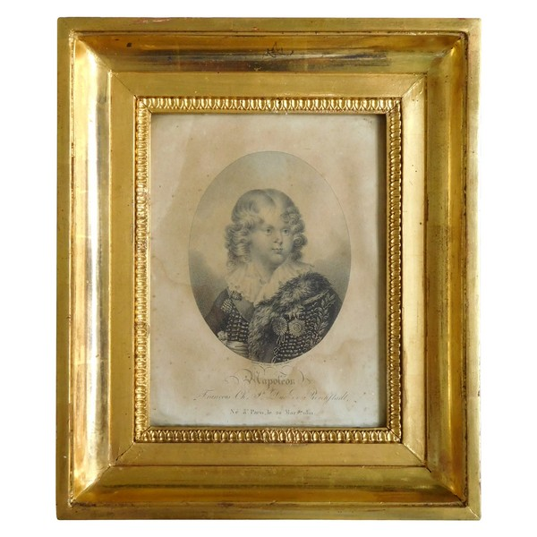 Portrait of Napoleon II, 19th century engraving in its gilt wood frame - 26cm x 31cm