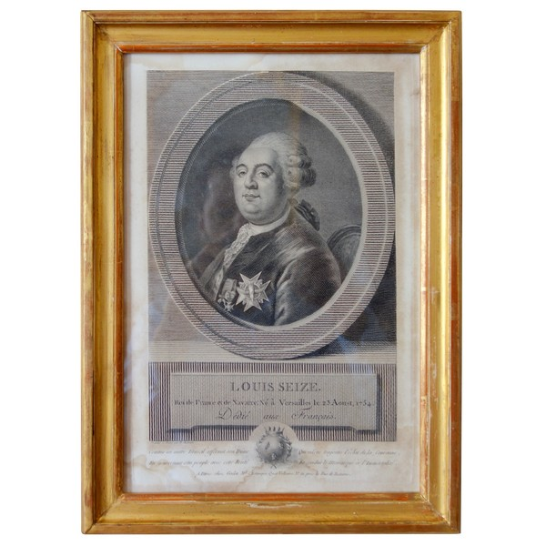 Louis XVI portrait, late 18th century engraving
