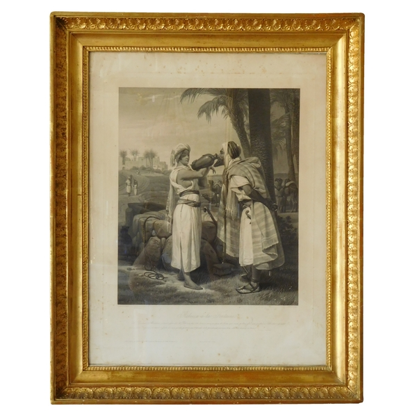 Orientalist engraving after Horace Vernet, gold leaf gilt wood frame, Empire period