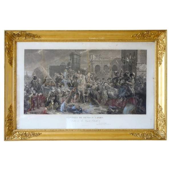 Large 19th century royalist engraving : King Henri IV arriving to Paris - 81cm x 119cm