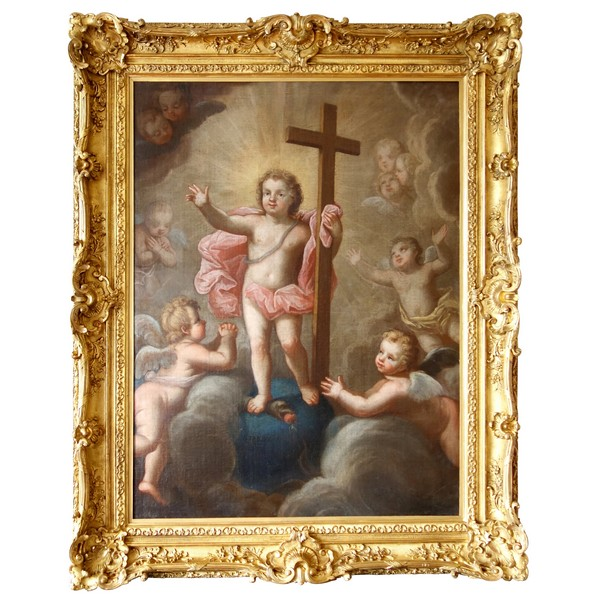 Early 18th century French school : Jesus Child in glory signed Pierre Staron, dated 1711