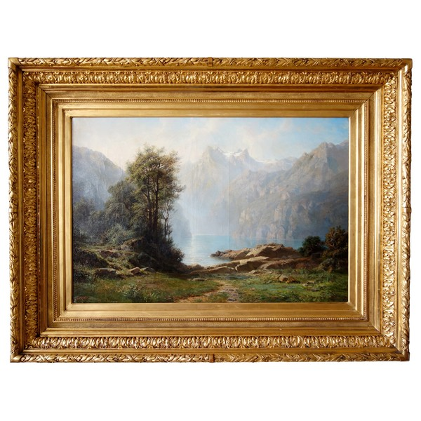 Leberecht Lortet (1826-1901) : large oil on canvas, mountain lake - 55cm x 82,5cm