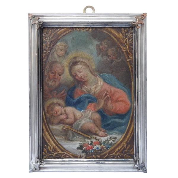 17th century school, Christmas Nativity - oil on copper in a silver frame
