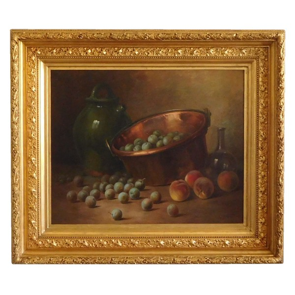 19th century French school, fruits still life, oil on canvas