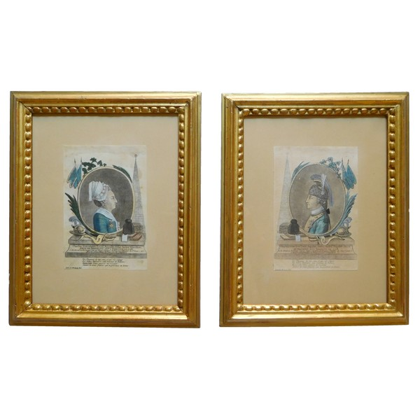 Pair of watercoloured engravings picturing Chevalier d'Eon - 18th century