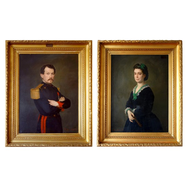 Pair of large 19th century portraits, oil on canvas, Charles Poterin du Motel - signed & dated 1870 & 1872