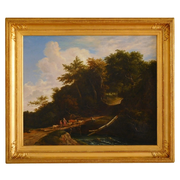 Early 19th century French school, romantic landscape, oil on canvas