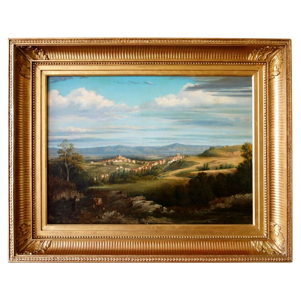 19th century French school : Roman countryside, signed Auguste Truelle - dated 1853 - 81cm x 55cm