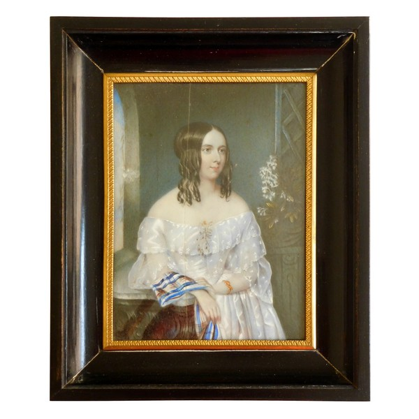 Large painting on ivory, French aristocrat in the 1850's