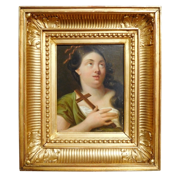 Early 19th century French school, portrait of Saint Mary Magdalene, oil on panel, gilt wood frame