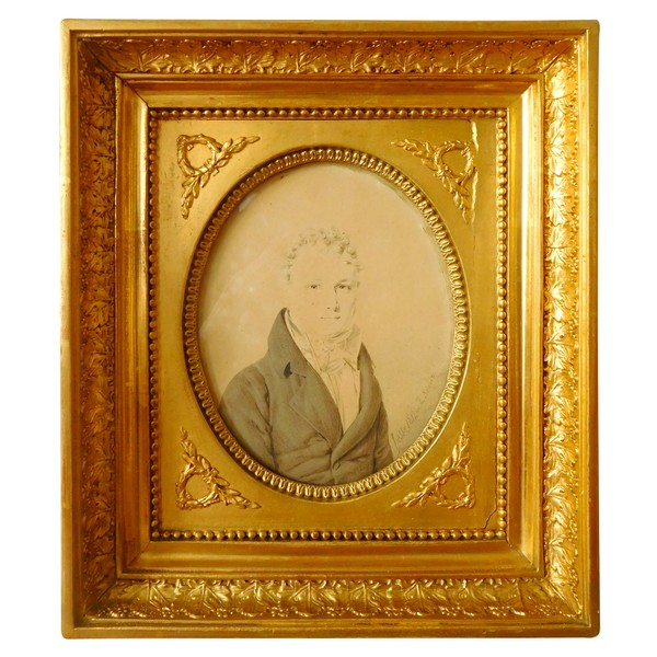 Henri Hesse - Empire miniature portrait - wash drawing signed, dated 1811