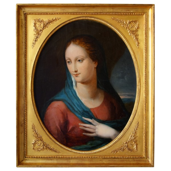 Empire portrait of Virgin Mary, early 19th century oil on canvas - 74,5cm x 86,8cm