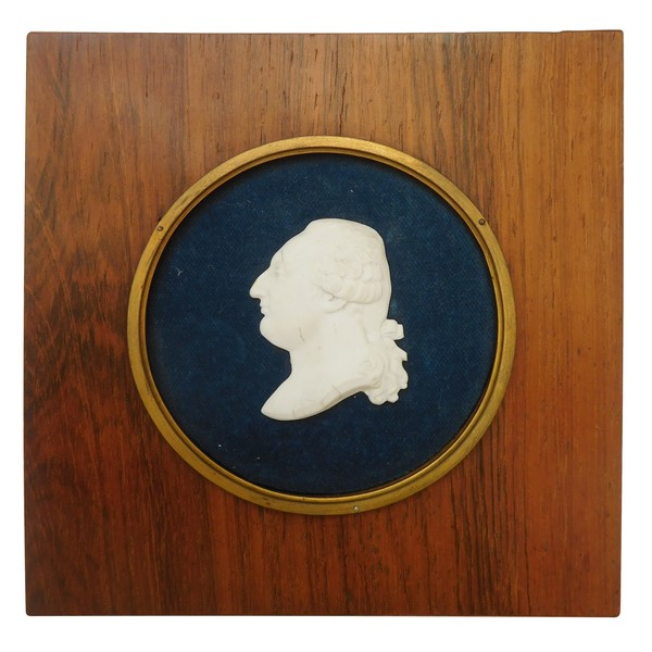 Louis XVI miniature biscuit bust in a rosewood frame, 19th century