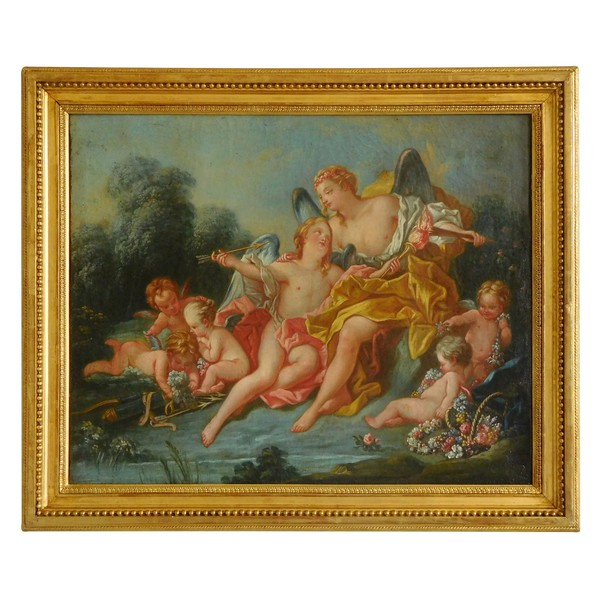 18th century French school - Venus and Cupid mythological scene, oil on canvas