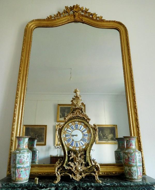Tr s grand miroir de chemin e cadre en bois dor glace - Miroir de cheminee ...