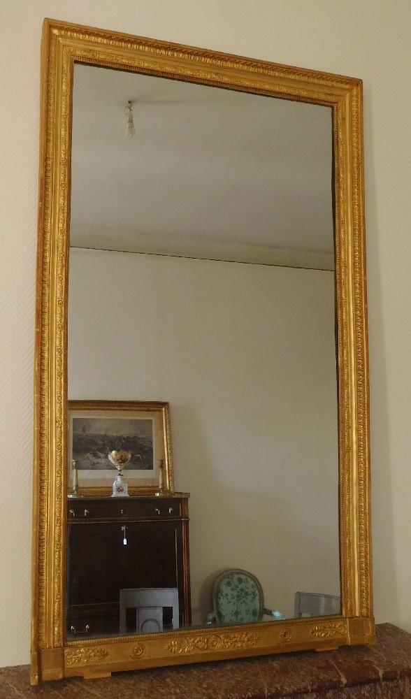 Grand miroir de chemin e en bois dor glace au mercure en - Miroir de cheminee ...