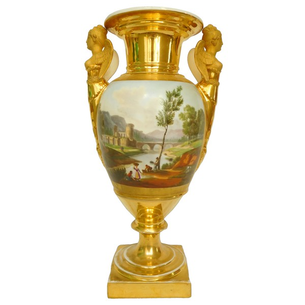 Grand vase d'ornement en porcelaine d'époque Empire - manufacture Meslier - 38,5cm